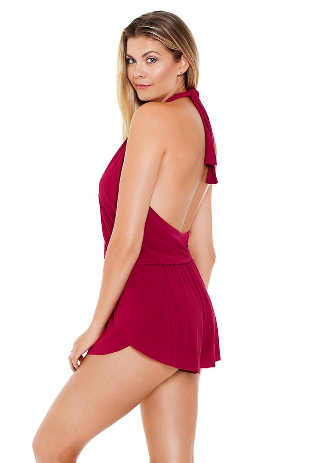 MAGICSUIT SOLIDS BIANCA ONE-PIECE JUMPER BURGUNDY SIDE