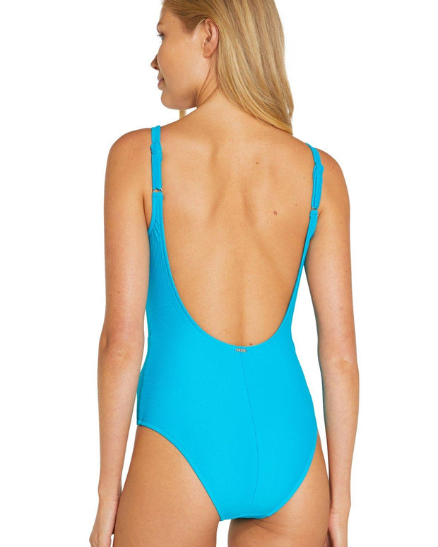 BAKU ROCOCCO LACE UP PLUNGE ONE-PIECE BACK