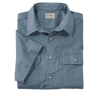 L.L.BEAN SUNWASHED CANVAS SHIRT BLUE FRONT