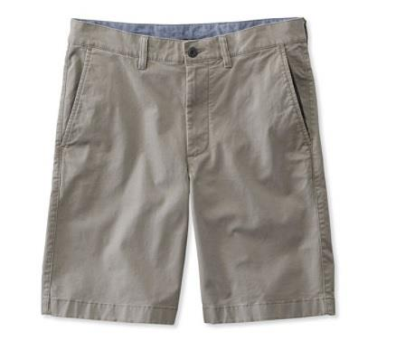 L.L.BEAN LAKEWAHSED STRETCH KAHKI SHORT GREY FRONT