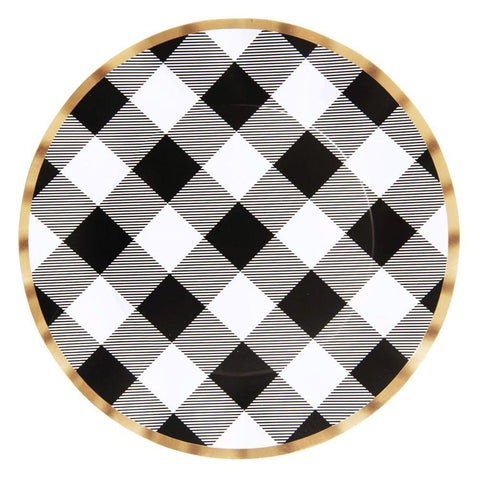 SIMPLY BAKED - WAVY DINNER PLATE BLACK BUFFALO CHECK