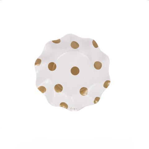 SIMPLY BAKED Sophisticated Gold Polka Dot Appetizer/Dessert Bowls.