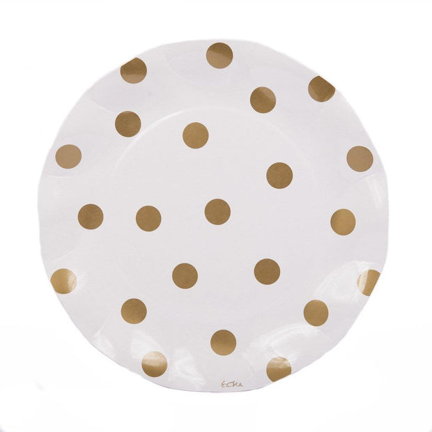 SIMPLY BAKED Gorgeous Gold Polka Dot Dinner Plates. Perfect for outdoor and indoor parties