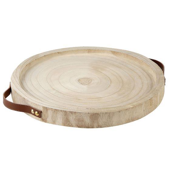 DESIGN HOME- PAULOWNIA + LEATHER TRAY- NATURAL