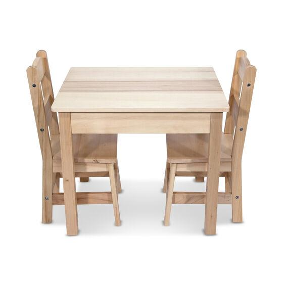 MELISSA & DOUG - SOLID WOOD TABLE & CHAIRS