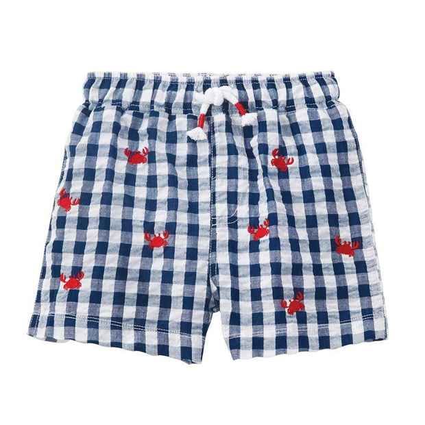 MUD PIE CRAB SCHIFFLI SEERSUCKER SWIM TRUNKS GINGHAM FRONT