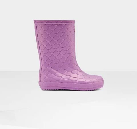 HUNTER ORIGINAL SEA DRAGON TEXTURE RAINBOOT PURPLE SIDE