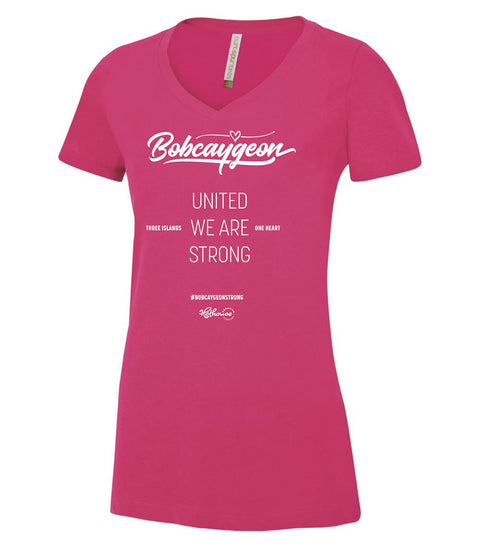 BOBCAYGEON STRONG V-NECK SHIRT PINK