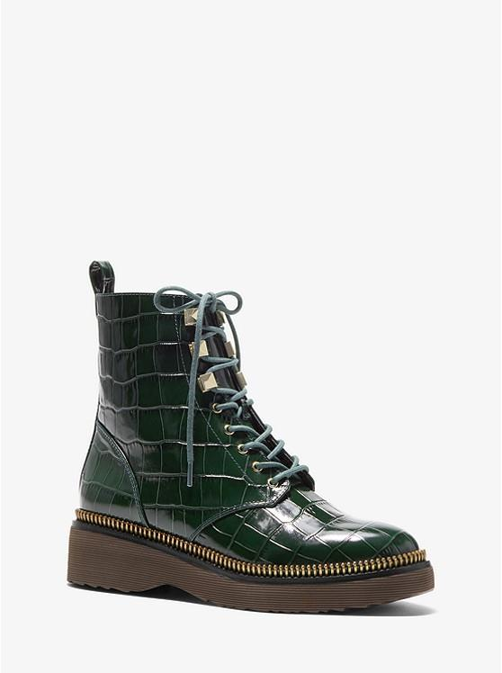 MICHAEL KORS- Haskell Crocodile Embossed Leather Combat Boot