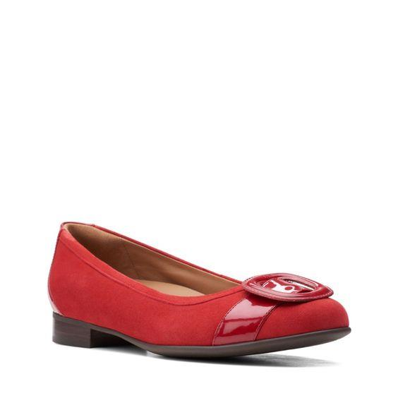 CLARKS- Un Blush Cove Red Combi Suede FLAT