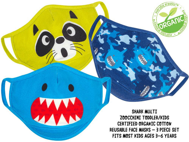 ZOOCCHINI - KIDS 3 PC REUSABLE FACE MASK SHARK