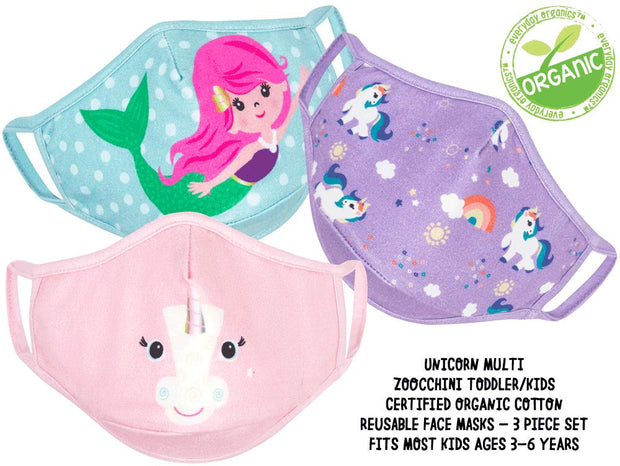 ZOOCCHINI - KIDS 3 PC REUSABLE FACE MASK UNICORN