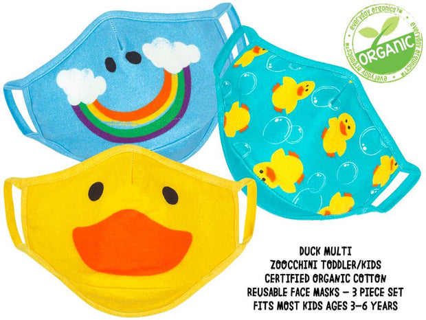 ZOOCCHINI - KIDS 3 PC REUSABLE FACE MASK DUCK