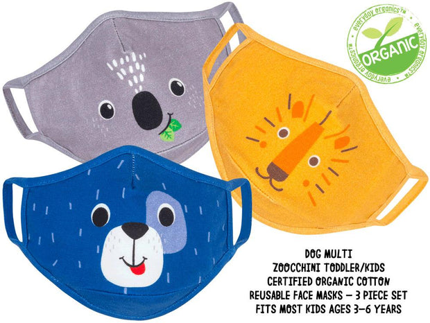 ZOOCCHINI - KIDS 3 PC REUSABLE FACE MASK DOG