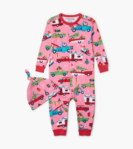 HATLEY- Pink Retro Christmas Baby Coverall with Hat