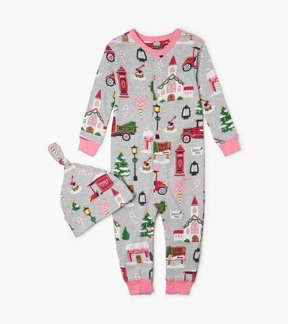 HATLEY- Christmas Village Baby Coverall with Hat
