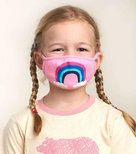 hatley kids face mask rainbow