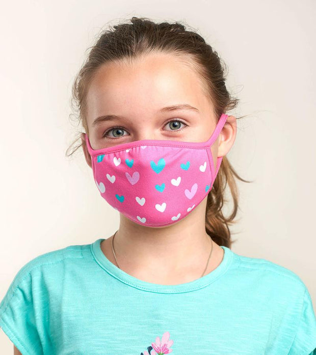 hatley kids face mask hearts