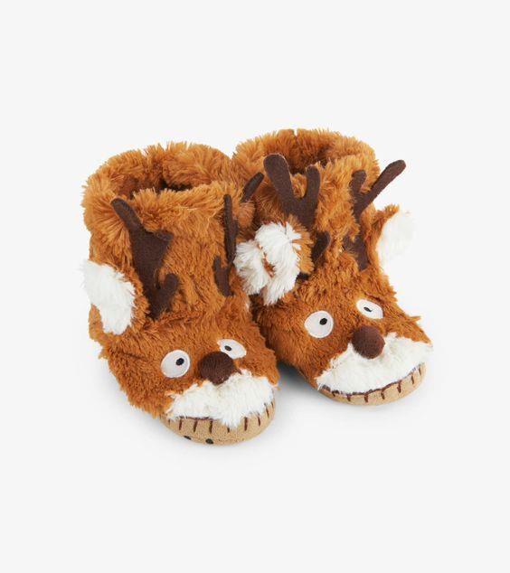 HATLEY- LITTLE BLUE HOUSE- Brown Reindeer Kids Fuzzy Slouch Slippers