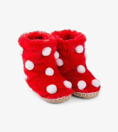 HATLEY- LITTLE BLUE HOUSE- Snow Balls Fuzzy Slouch Slippers
