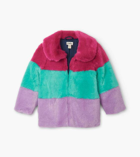HATLEY- KIDS Faux Fur Colour Block Jacket
