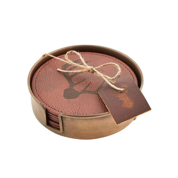 MUDPIE- LEATHER DEER ANTLER COASTER SET