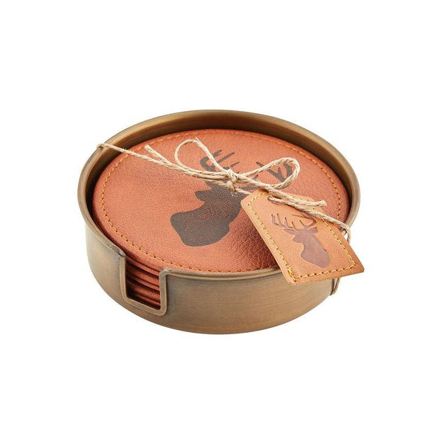 MUDPIE- LEATHER DEER BUST COASTER SET