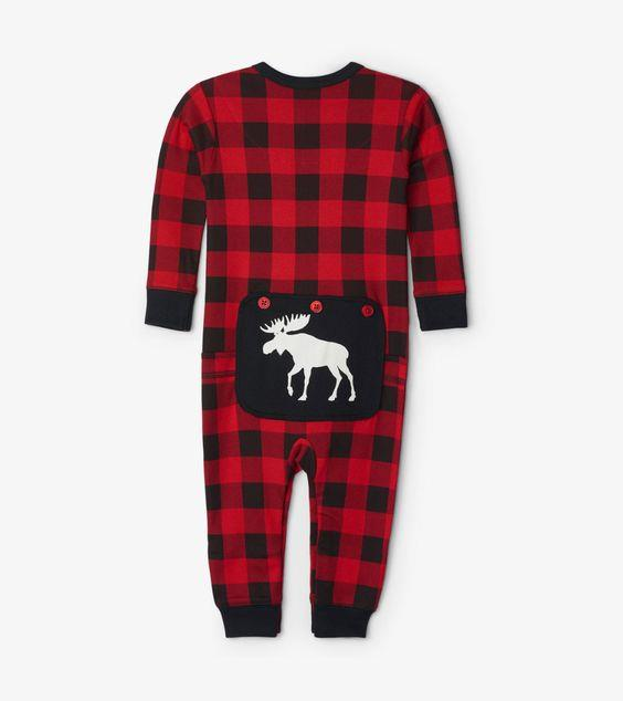 HATLEY- Moose On Plaid Baby Union Suit