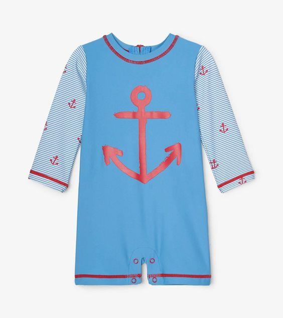 HATLEY- Red Anchors Baby One-Piece Rashguard