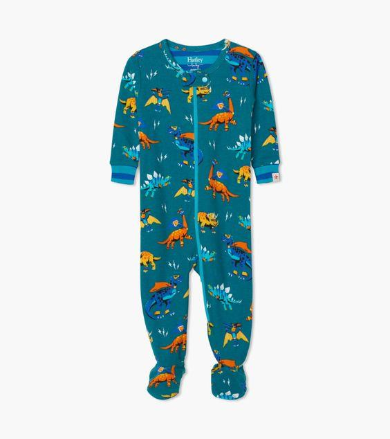 HATLEY- Superhero Dinos Organic Cotton Footed Coverall