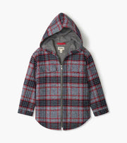 HATLEY- Winter Plaid Woven Full Zip Hoodie