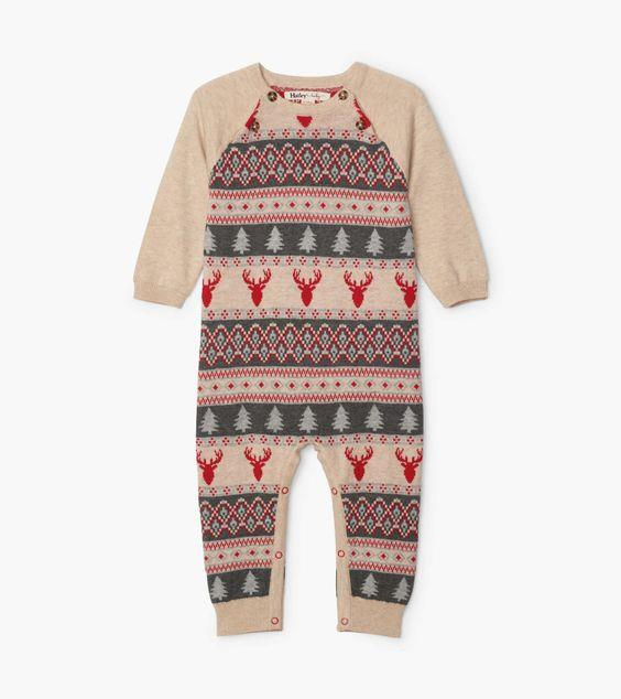 HATLEY- Fair Isle Stags Baby Sweater Romper