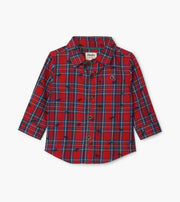 HATLEY- Holiday Plaid Moose Baby Button Down Shirt