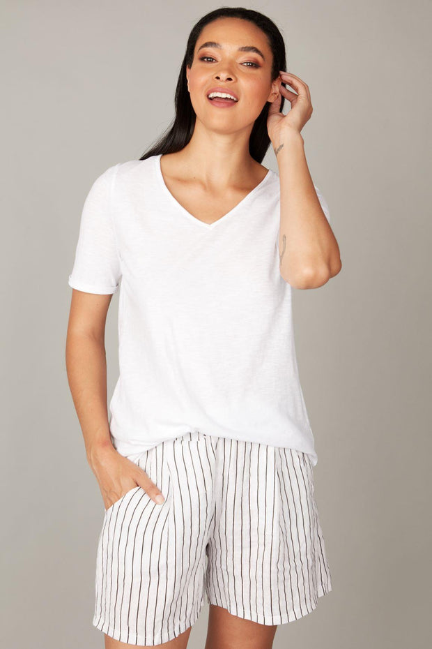 PISTACHE- PINSTRIPE RELAXED SHORTS