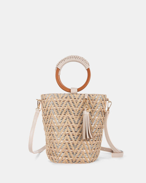 CELINE DION- PIACEVOLE - HANDLE BAG (SMALL) STRAW & LEATHER-LIKE TRIM