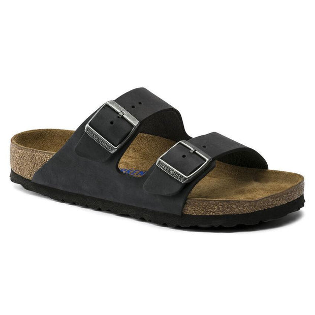 BIRKENSTOCK- ARIZONA SOFT BED OILED LEATHER BLACK