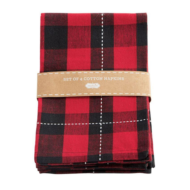 MUDPIE- LARGE RED BUFFALO CHECK NAPKINS