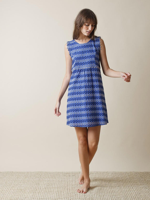 INDI & COLD SWISS EMBROIDERY DRESS FRONT BLUE