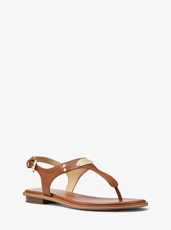 MICHAEL KORS- LOGO PLAQUE LEATHER SANDAL