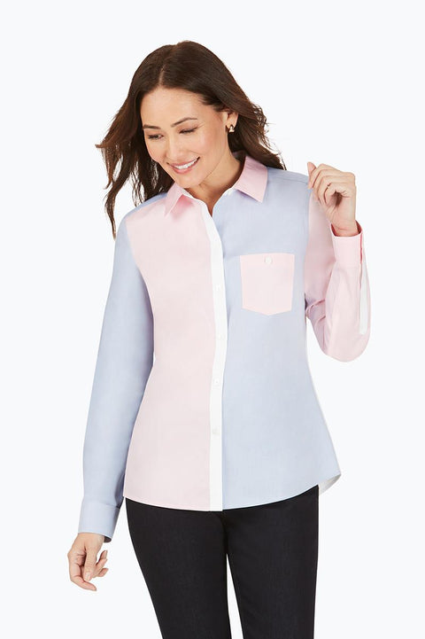 FOXCROFT - HAMPTON PINPOINT COLOURBLOCK SHIRT