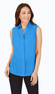 FOXCROFT TAYLOR STRETCH NON-IRON SLEEVLESS SHIRT BLUE