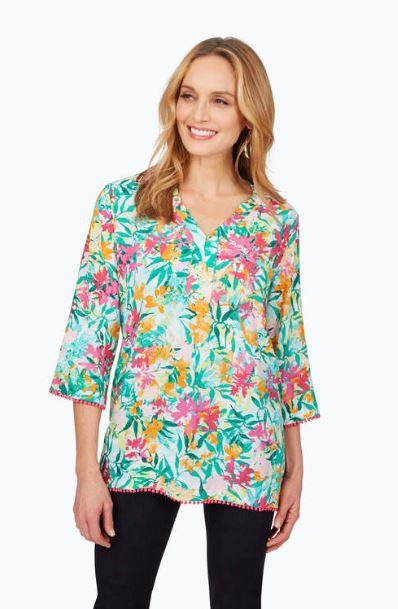 FOXCROFT - HEATHER EASY-CARE TROPTICAL SHIRT