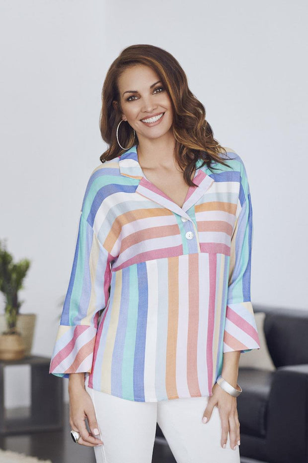 HILARY RADLEY - MULTI STRIPE BLOUSE