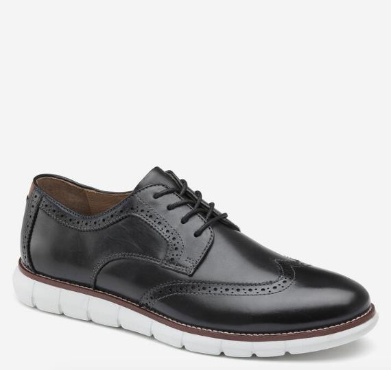 JOHNSTON & MURPHY HOLDEN WINGTIP BLACK SIDE