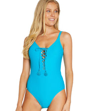 BAKU ROCOCCO LACE UP PLUNGE ONE-PIECE FRONT