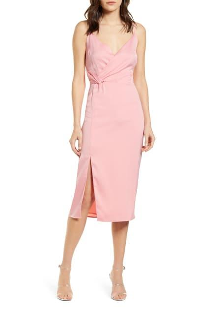 CUPCAKES AND CASHMERE- Aquila Faux Wrap Slipdress In Peony