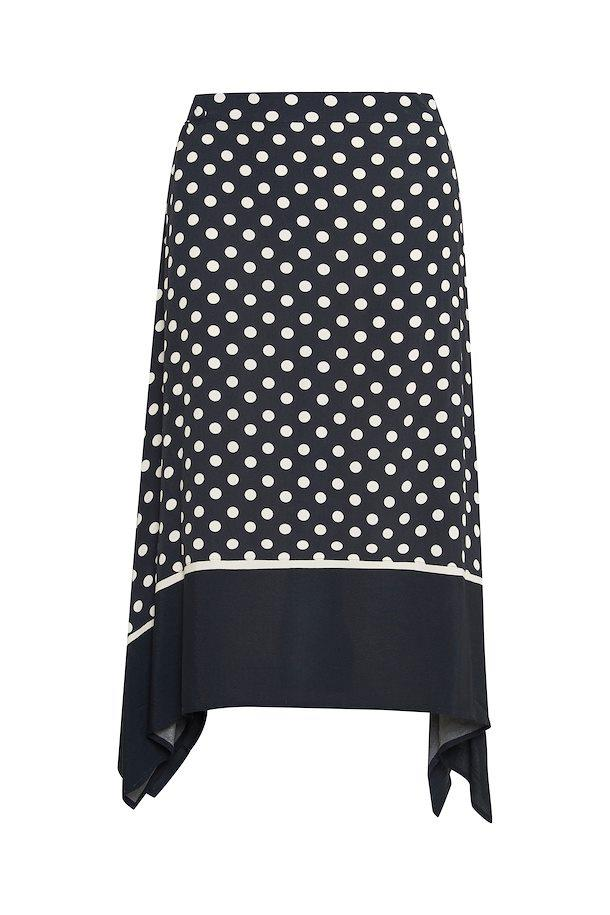 PART TWO BAYANPW SKIRT NAVY POLKA DOT FRONT