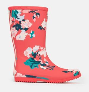 JOULES ROLL UP WELLIES RED FLORAL