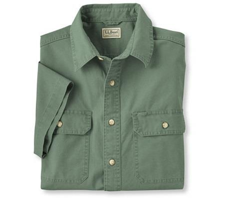 L.L.BEAN SUNWASHED CANVAS SHIRT GREEN FRONT