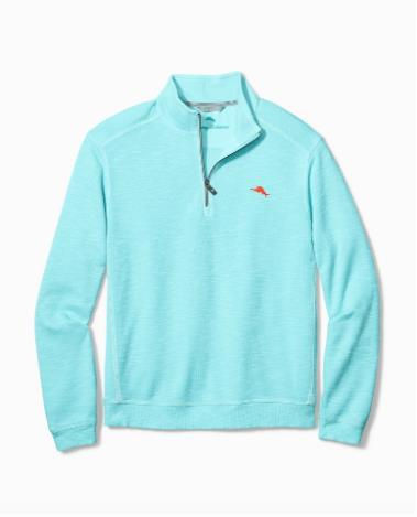 TOMMY BAHAMA TOBAGO BAY HALF ZIP AQUAMIST